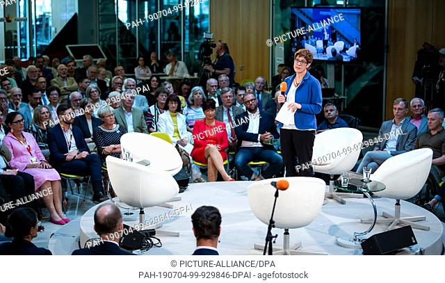 "04 July 2019, Berlin: Annegret Kramp-Karrenbauer, Chairwoman of the CDU, speaks at the opening of a discussion event of the CDU Germany entitled """"Social market..."