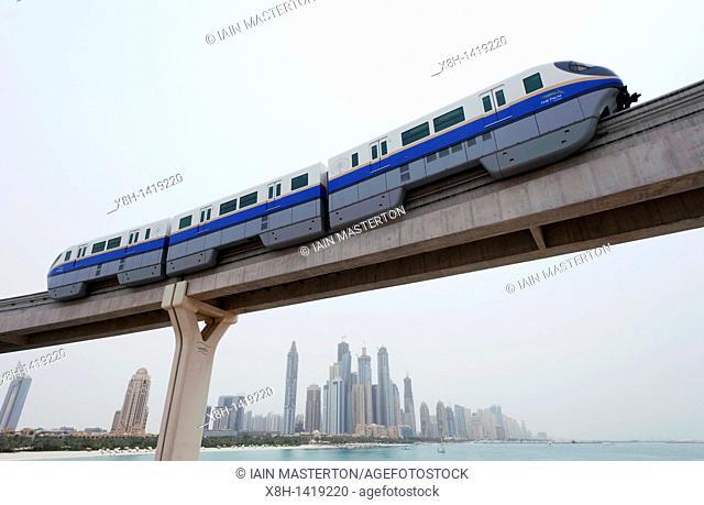 Monorail train to Atlantis hotel complex on Palm Jumeirah in Dubai , United Arab Emirates,UAE