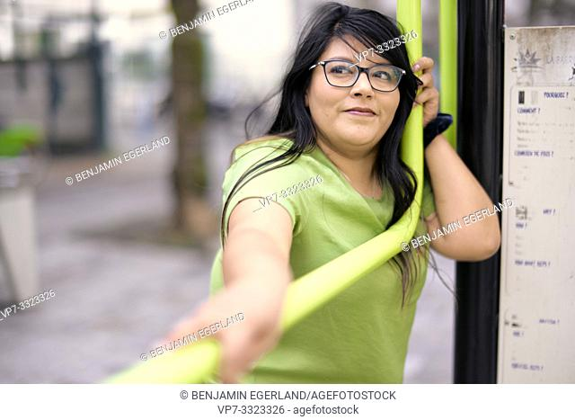 portrait of obese woman, in Paris, France