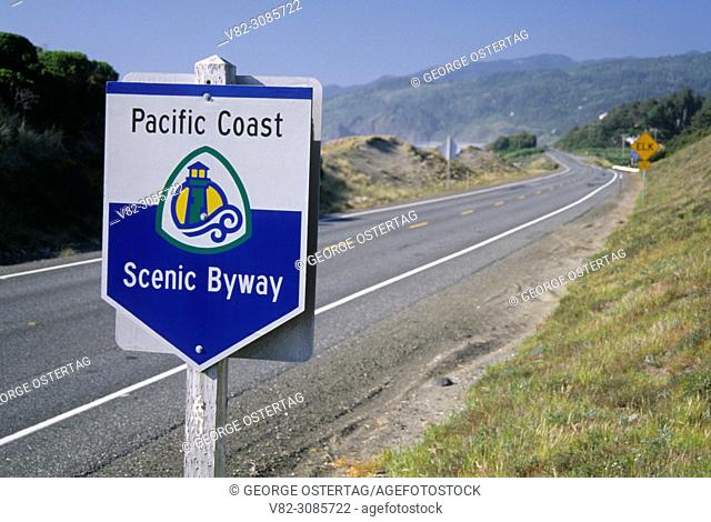 Pacific Coast Byway sign, Pistol River State Park, Oregon