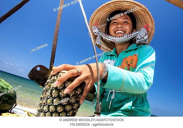 Tropical fruit snack vendor Long Beach Phu Quoc island Vietnam
