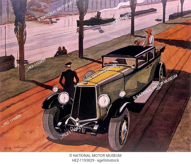 Poster advertising Armstrong Siddeley 'Long' cars, 1930. Elegant people stop to admire the view by a canal or river. A tug pulls a barge along