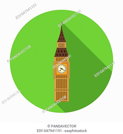 Big Ben icon in flat style isolated on white background. England country symbol rastr illustration