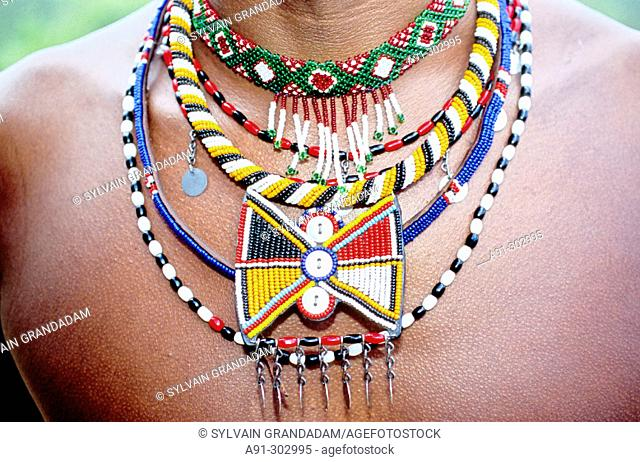 Masai jewelry necklaces. Laikipia Masai Community Conservancy Park. Kenya