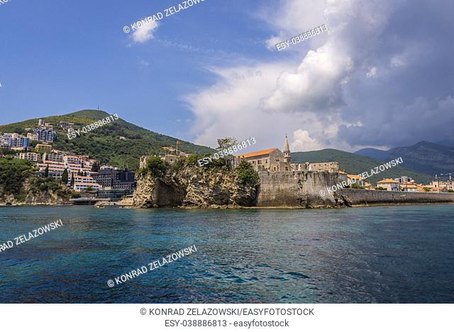 View from the Old Town of Budva city on the Adriatic Sea coast, Montenegro