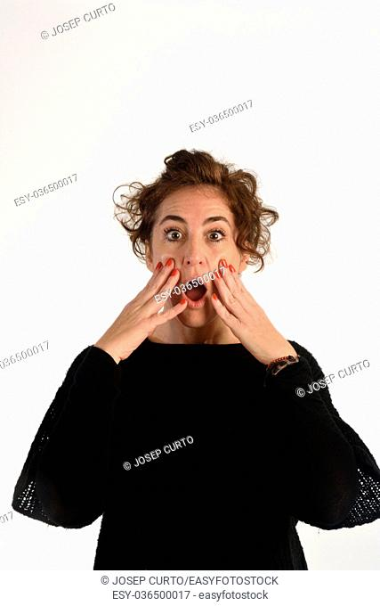 Woman with expressive face