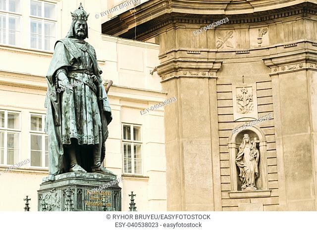 Bronze Statue Of Czech King Charles Iv In Prague, Czech Republic