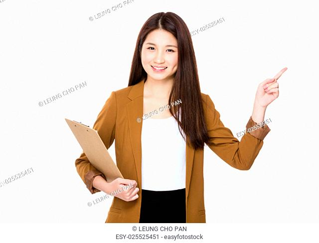 Asian Woman with clipboard and finger up