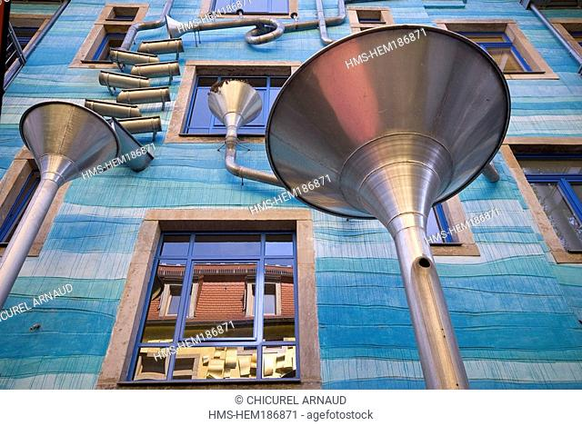 Germany, Saxony State, Dresden, drainpipes on a facade of Kunsthof Passage