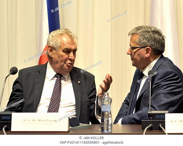 President of Czech Republic Milos Zeman (left) and Bronislaw Komorowski, President of Poland pictured during press conference after meeting of presidents V4...