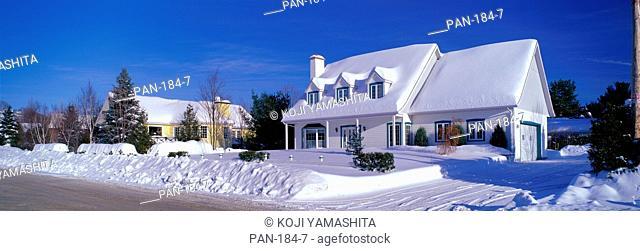 Winter Scene with Houses, Saint-Sauveur, Laurentides, Quebec, Canada, No Release