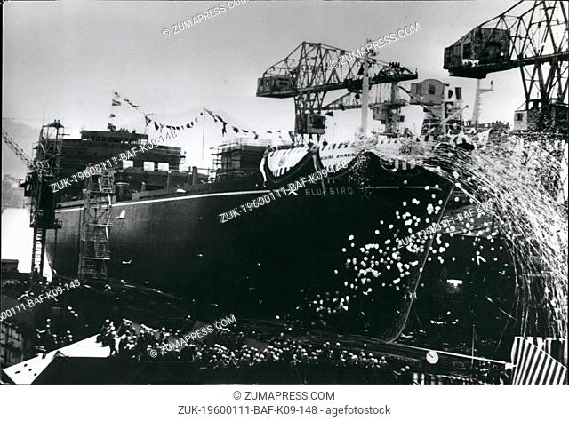 1968 - Ship to carry 1,200 cars launched.: The auto carrier Bluebird is shown being launched at the Innoshima shipyard of Hitachi Shipbuilding Co