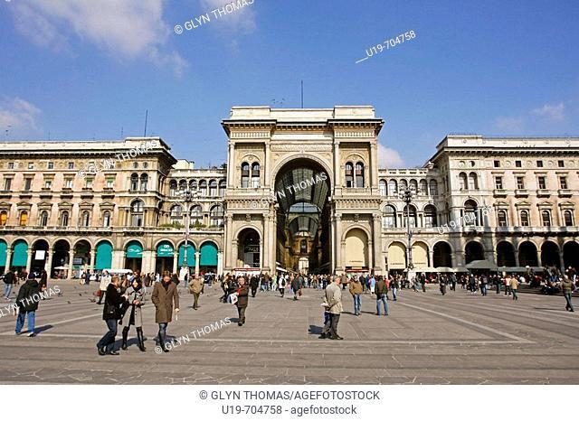 Piazza del Duomo and exterior of Galleria Vittorio Emanuele II, Milan, Italy
