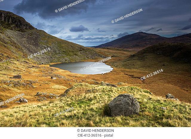 Remote lake, Llyn Teyern, Snowdon, Wales