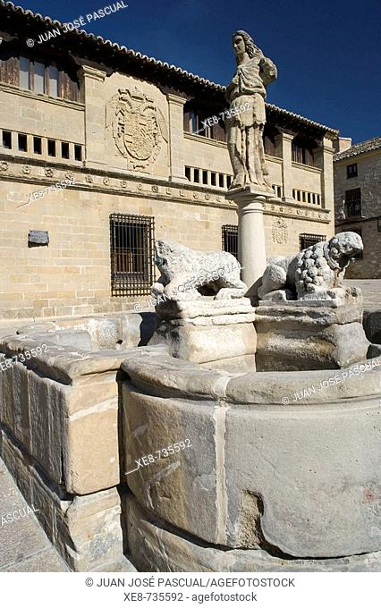 Fountain of the Lions in front of the Antigua Carnicería built in the 16th century in Plaza del Populo, Baeza. Jaen province, Andalucia, Spain