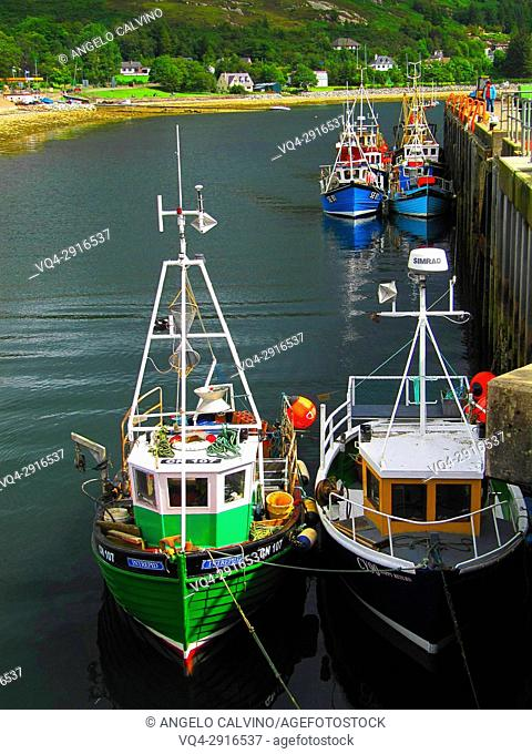 Fishing Boats at Ullapool harbour, Village on shore of Loch Broom, Scotland, UK