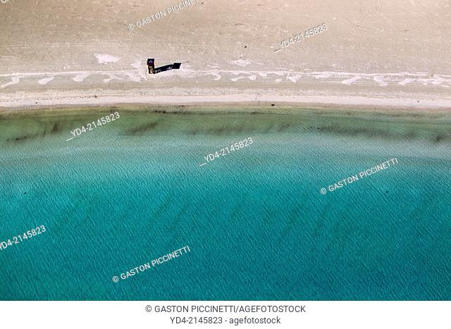 Aerial view of Pollença beach in winter, Mallorca, Balearic Island, Spain
