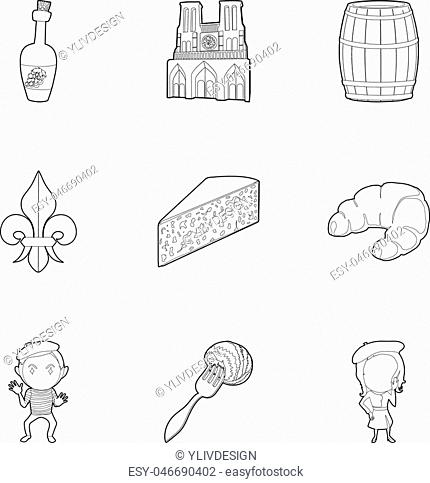 French food icons set. Outline set of 9 french food vector icons for web isolated on white background