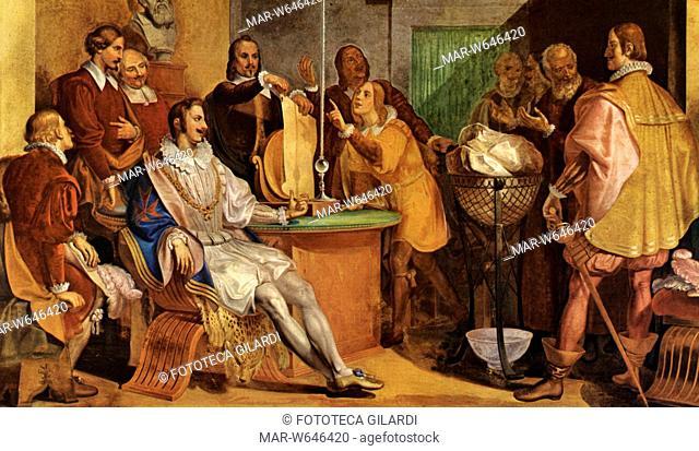 Galileo GALILEI (1564?1642) Seduta dell' Accademia del Cimento , fondata dagli allievi di Galileo Galilei, durante il quale si effettua un esperimento al...