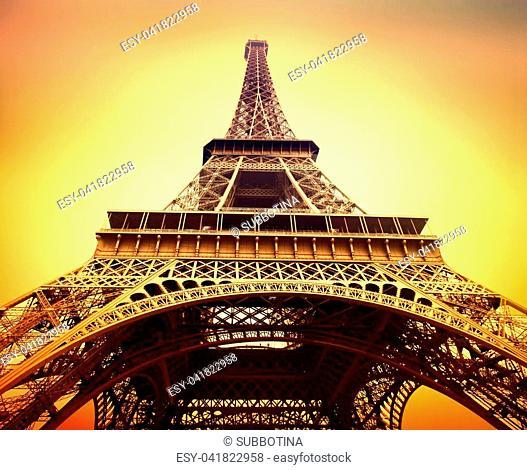 Eiffel Tower at sunrise close up, Paris, France