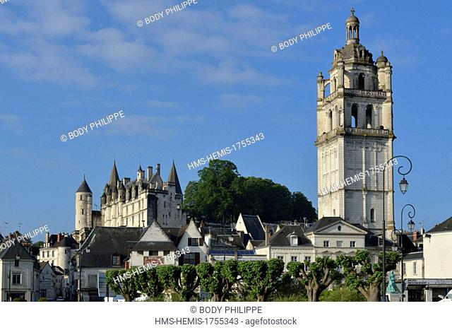 France, Indre et Loire, Loches, the Royal Palace, dated 14th century and the Saint Antoine tower dated 16th century