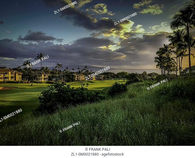 Grand Champion Resort and the Wailea Blue Golf course with the Maui sunset. Hawaii