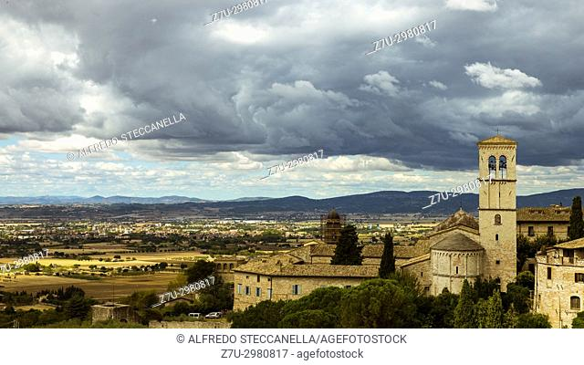 View of medieval cities of Assisi and its countryside