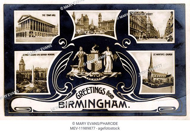 Souvenir postcard, Greetings from Birmingham, West Midlands, UK, with photographs of the Town Hall, the School of Art, Corporation Street