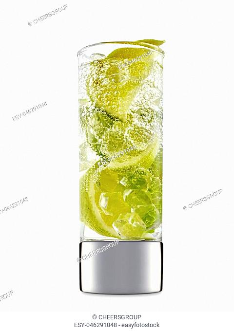 fresh fruit alcohol cocktail or mocktail in shot glass with ice cubes, lime and mint isolated on white background