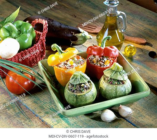 Stuffed round zucchinis and sweet peppers
