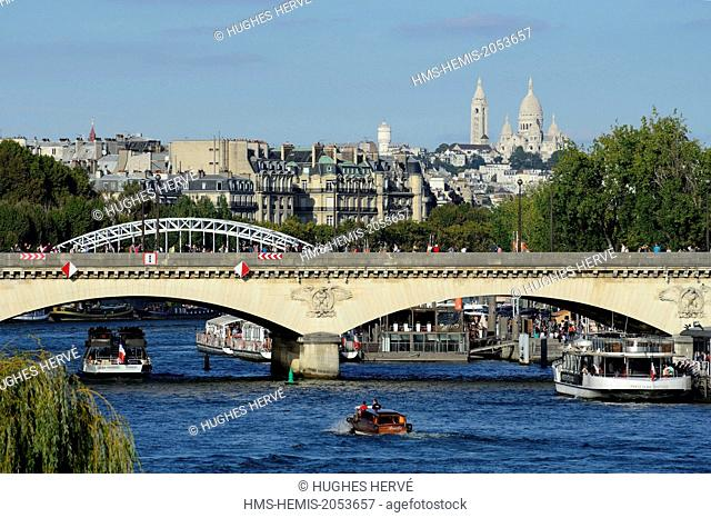 France, Paris, area listed as World Heritage by UNESCO, the bridge of Jena and the Seine river