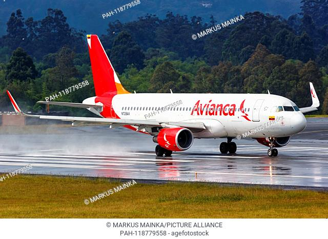 Medellin, Colombia – January 26, 2019: Avianca Airbus A320 airplane at Medellin airport (MDE) in Colombia. | usage worldwide. - Medellin/Colombia