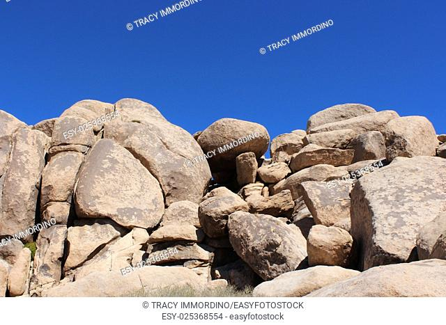 Large piles of boulders, in a unique rock formation on the Cap Rock Nature Trail at Joshua Tree National Park in Twentynine Palms, California, USA