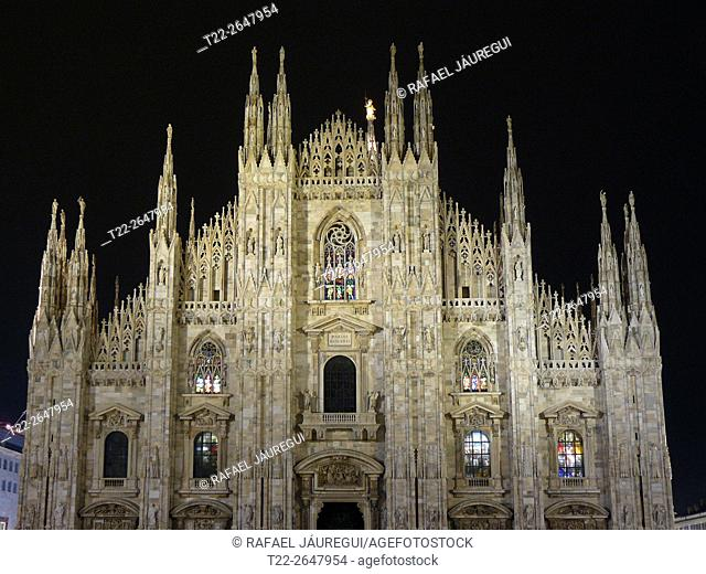 Milan (Italy). Night view of the Duomo in Milan