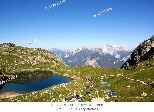 Lake Coldai close to Rif Sonino al Coldai, Dolomite Alps, Italy, Alta Via Dolomiti