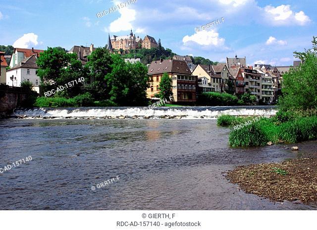 River Lahn and castle Marburg Hessen Germany