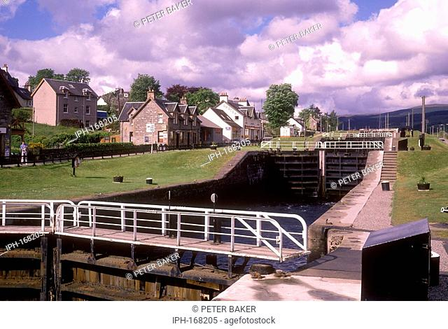 Locks at Fort Augustus a holiday village on the Caledonian Canal at western end of Loch Ness