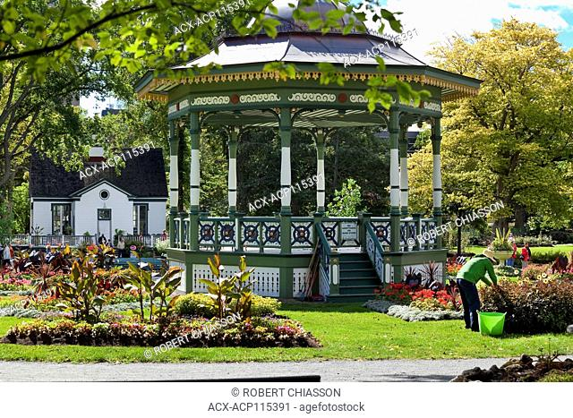 Ornate wooden bandstand built to commemorate Queen Victoria's Golden Jubilee in 1887 and located in the center of the Halifax Public Gardens, Halifax