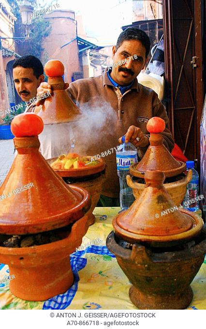 Tajinne of pots for traditional vegetables - meat pot Morocco