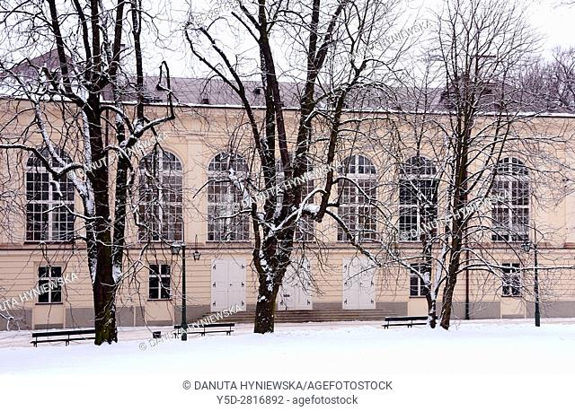 Stara Pomaranczarnia building in winter, facade of Old Orangery building, Lazienki Krolewskie, Lazienki Park, Royal Baths Park, Warsaw, Poland, Europe