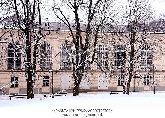Stara Pomaranczarnia building in winter, facade of Old Orangery building, Lazienki Krolewskie, Lazienki Park, Royal Baths Park, Warsaw, Poland, Europe