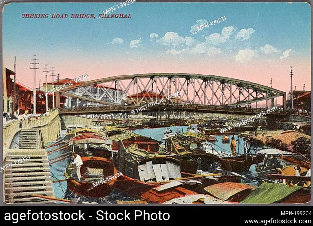 Cheking Road bridge, Shanghai. Young Photo Co. Pacific pursuits : Postcards China - Shanghai. Date Issued: 1907 - 1918 Place: Shanghai Publisher: Printed in...