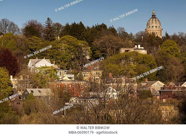 USA, Rhode Island, Providence, elevated view of College Hill