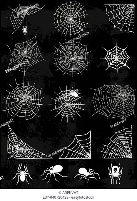 Spiders and spider web silhouette spooky nature element vector set. Cobweb decoration fear spooky spider web silhouette. Danger horror trap cobweb decoration...