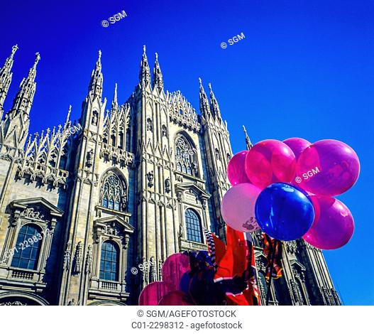 Balloons and Duomo cathedral Milan Lombardy Italy