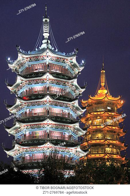 China, Guangxi, Guilin, Sun & Moon, Twin Pagodas,