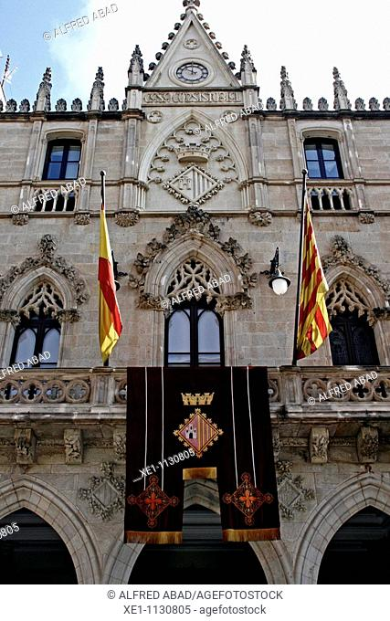 Town Hall, Gothic 1900-1902, architect: Lluis Moncunill, Terrassa, Catalonia, Spain