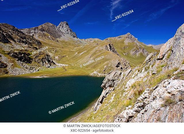 Lac Bleu with Rocca Niera, Valle Varaita, Piemont, Italy