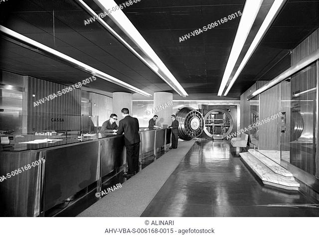 Interior of a bank with a big strongbox, shot 1965 ca. by Villani, Studio