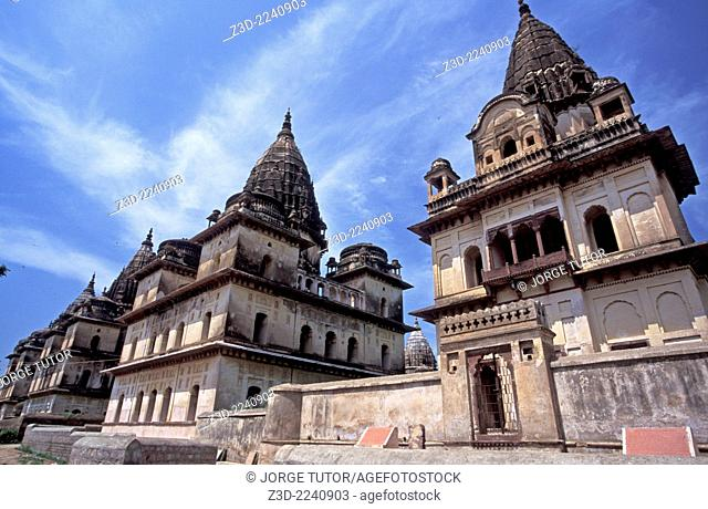 Cenotaphs or chhatris at the banks of river Betwa, Orchha, Madhya Pradesh, India